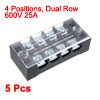 5 Pcs 4 Positions Dual Rows 600V 15A Wire Barrier ...