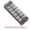 5pcs 600V 25A Dual Row 6 Positions Screw Terminal ...