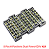 5 pcs 6 Positions Dual Rows 600V 15A Wire Barrier ...