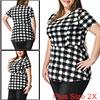 Women Plus Size Short Sleeves Checked Peplum Top B...
