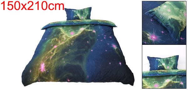 3d Galaxy Mysterious Boundless Bedding Sets Duvet/Quilt Cover Set 2pcs Single Size (Green Space)