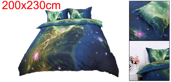 3d Galaxy Mysterious Boundless Bedding Sets Duvet/Quilt Cover Set 3pcs Queen Size (Green Space)