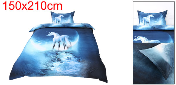 3d Galaxy Mysterious Boundless Bedding Sets Duvet/Quilt Cover Set 2pcs Single Size (White Horse)