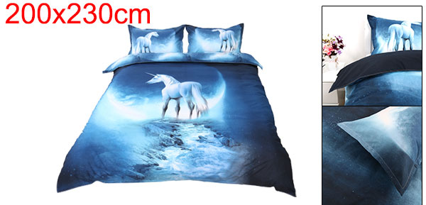 Oil Print 3d Galaxy Bedding Set Quilt Duvet Cover  Queen Size (White Horse)