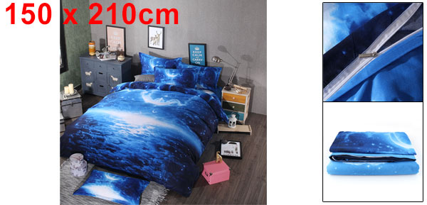 3d Galaxy Mysterious Boundless Bedding Sets Duvet/Quilt Cover Set 2pcs Single Size (Blue Space)