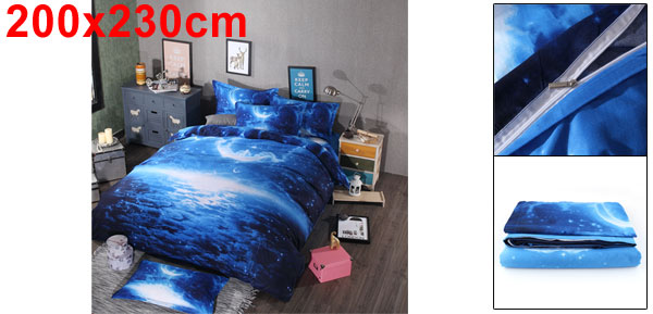 Oil Print 3d Galaxy Bedding Set Quilt Duvet Cover Queen Size (Blue Space)
