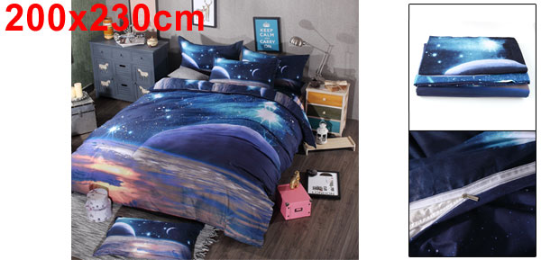 Oil Print 3d Galaxy Bedding Set Quilt Duvet Cover Case Queen Size (Purple Space)