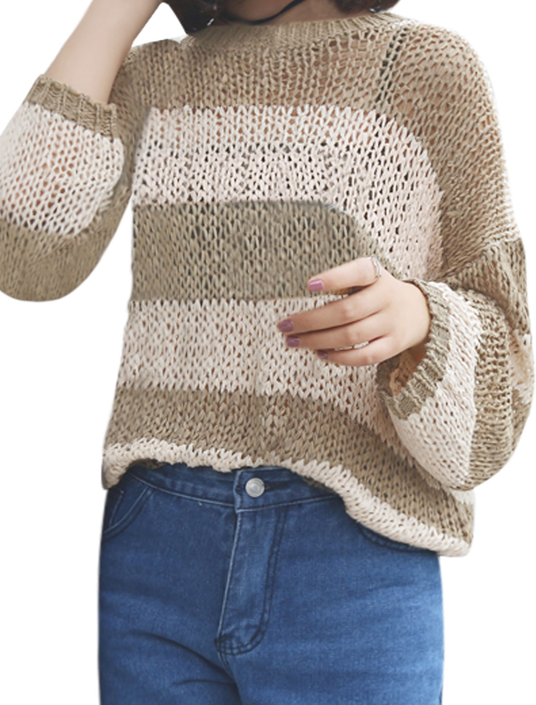 Women-Long-Sleeves-Hollow-Out-Stripes-Loose-Knit-Top