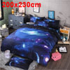 Oil Print 3d Galaxy Bedding Set Quilt Duvet Cover Queen Size (Dark Blue Space)