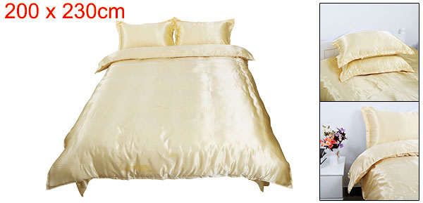 Golden Satin Silk Like Solid Color Bedding Set Duvet Cover Silk Pillowcase Silk Sheet, Queen Size