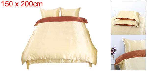 Silk Blend Duvet Cover Bedspread Pillowcase Bedding Set Brown Golden, Twin Size