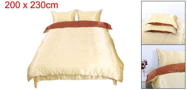 Brown Golden Satin Silk Like Solid Color Bedding Set Duvet Cover Silk Pillowcase Silk Sheet, Queen Size