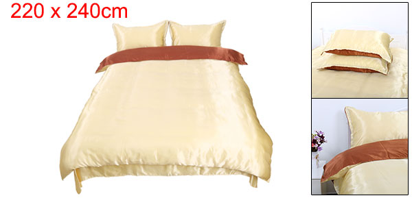 Silk Blend Duvet Cover Bedspread Pillowcase Bedding Sets Brown Golden, King Size