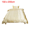Silk Blend Duvet Cover Bedspread Pillowcase Bedding Set Gold Tone...
