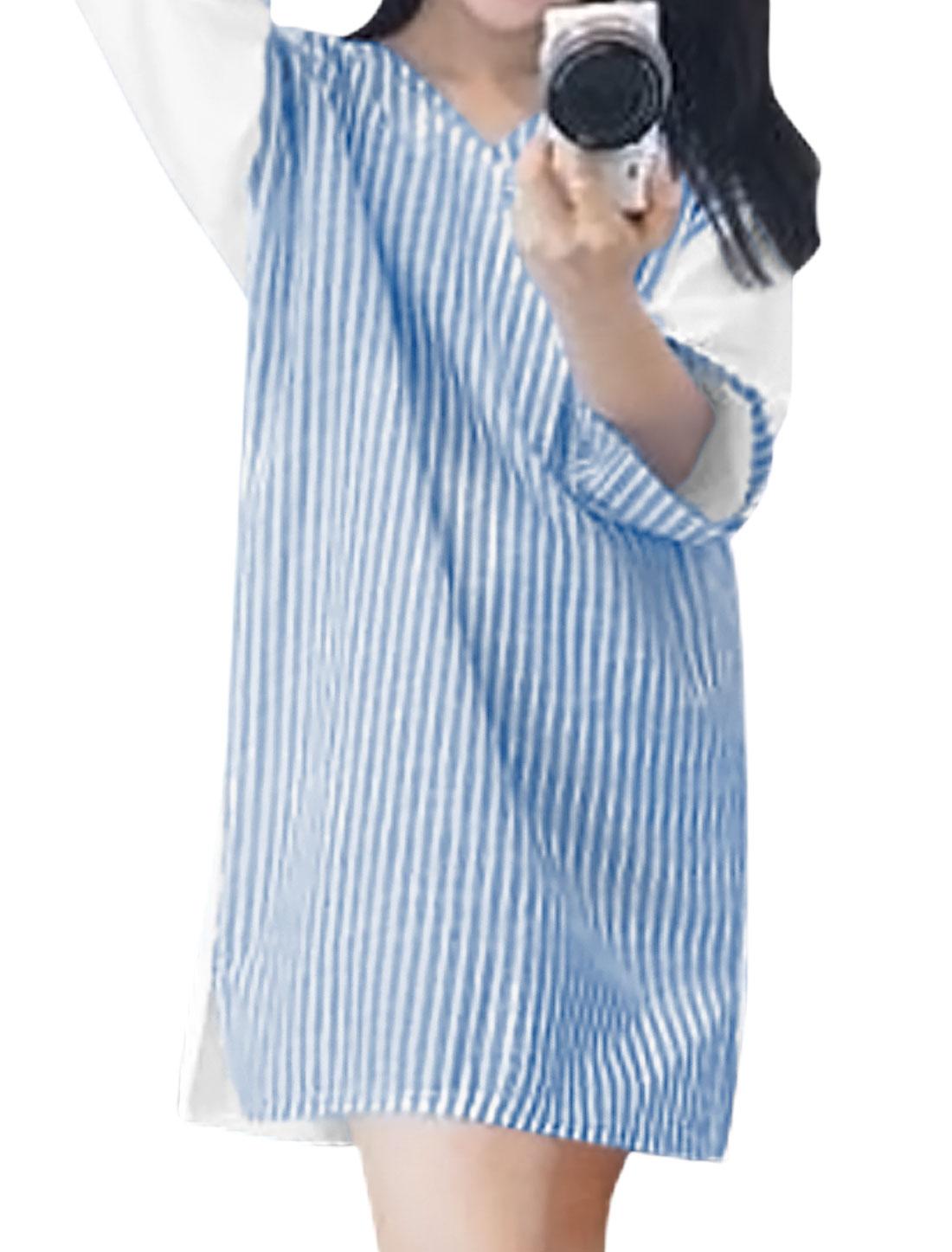 Women-V-Neck-Kimono-Sleeves-Stripes-Contrast-Color-Loose-Tunic-Dress