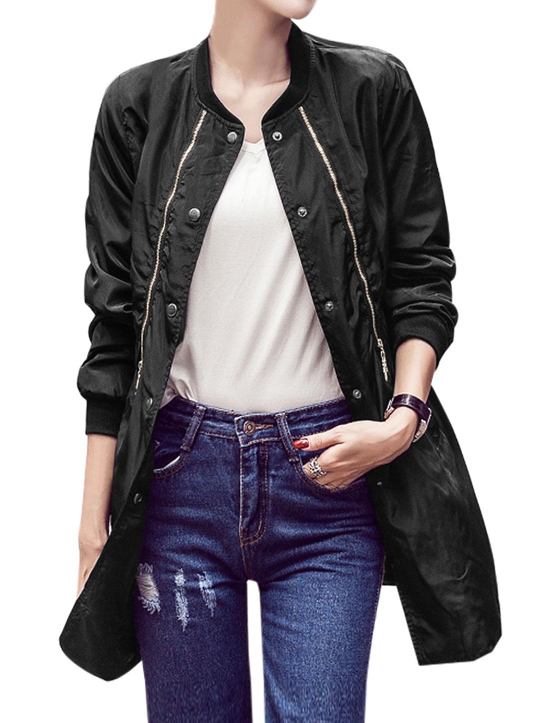 Women-Stand-Collar-Double-Zipper-Decor-Overlay-Elastic-Tunic-Jacket