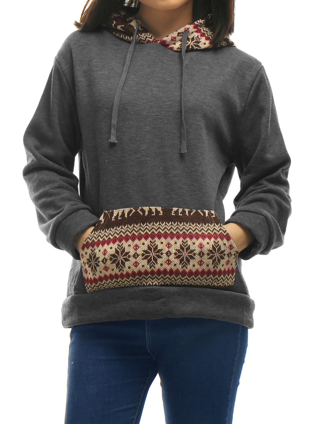 Women-Deer-Snowflake-Pattern-Drawstring-Hooded-Sweatshirt