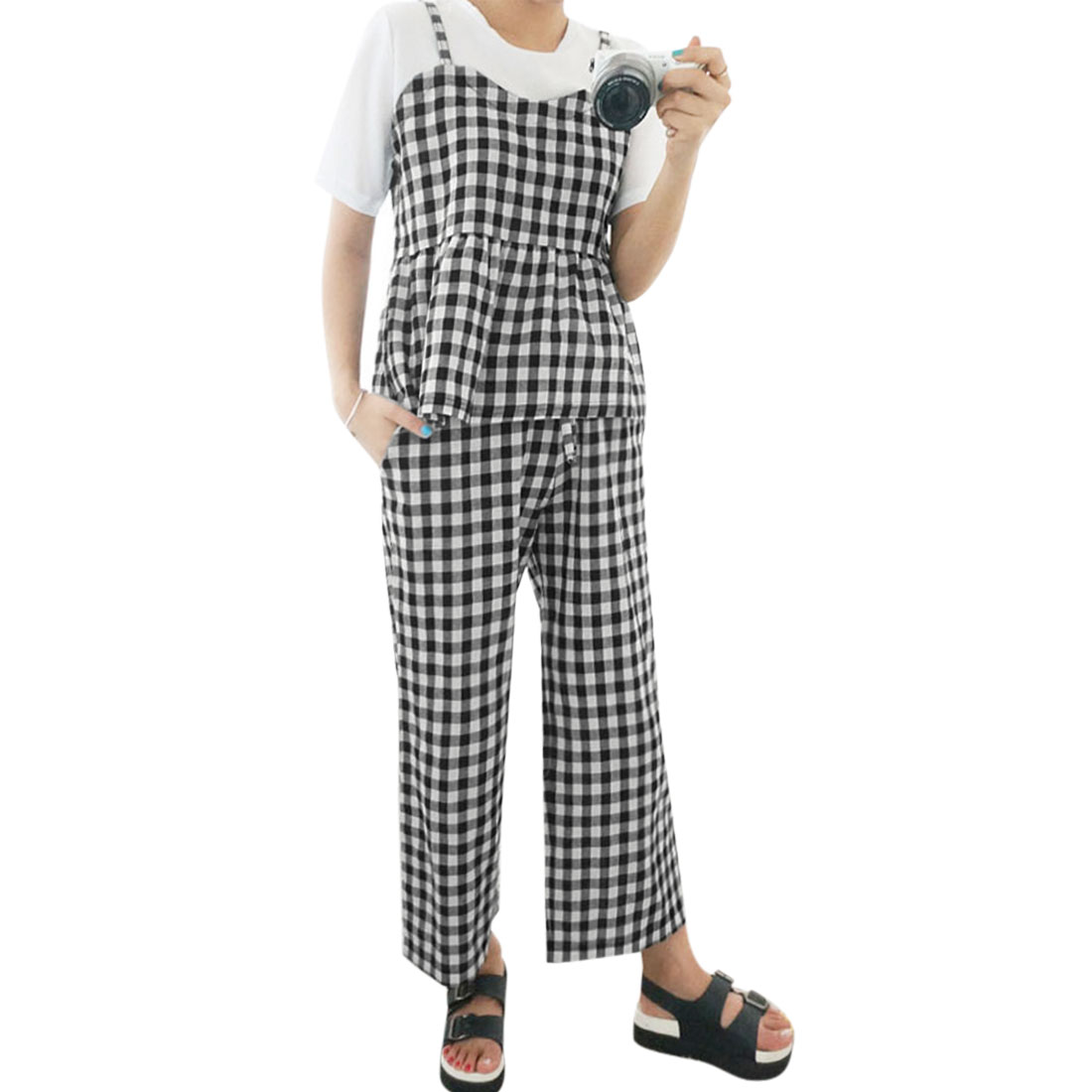 Women-Plaids-Flouncing-Hem-Cami-w-Wide-Leg-Drawstring-Pants-Set