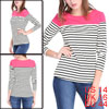 Women Long Sleeves Round Neck Stripes Stretch T-Sh...