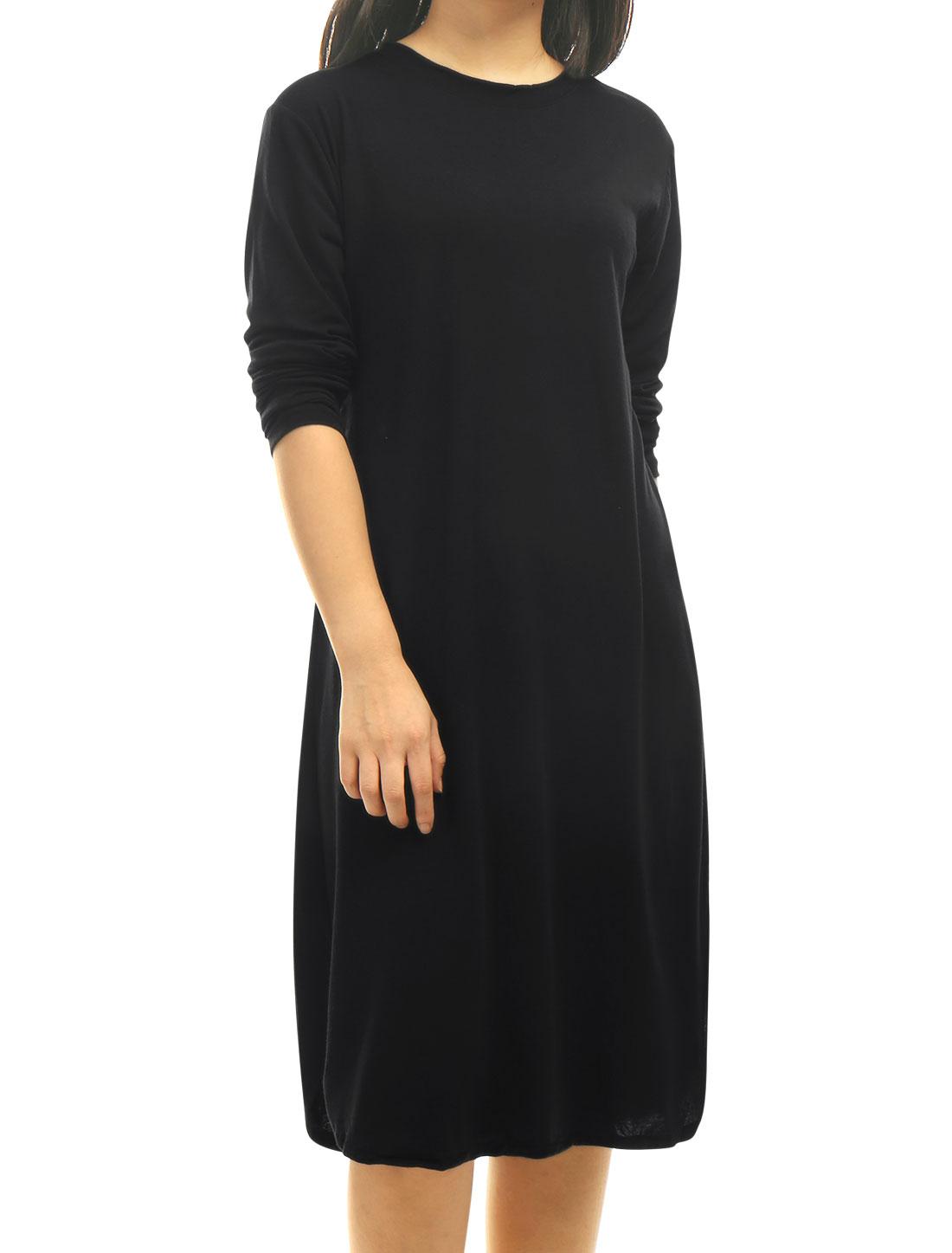 Women-Crew-Neck-Long-Sleeves-Split-Sides-Detail-Loose-Dress