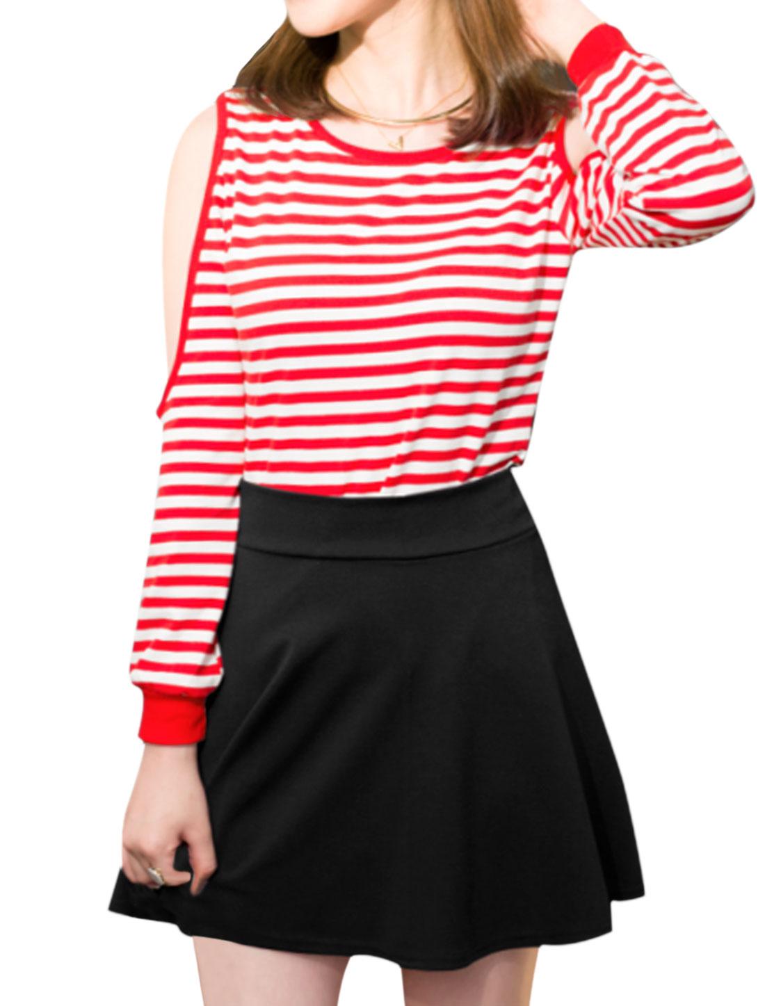 Women-Cut-Out-Shoulder-Stripes-Top-w-High-Waist-A-Line-Skirt-Set
