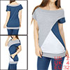 Women Boat Neck Batwing Sleeves Color Block Tunic ...