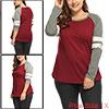 Women Plus Size Color Block Varsity-Striped Raglan...