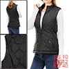 Women Stand Collar Side Pockets Zippered Quilted P...