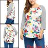 Women Plus Size Floral Prints 3/4 Raglan Sleeves P...