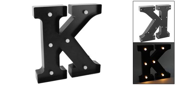 Livingroom Plastic Decor English K Letter Alphabet DIY Hanging LED Light Black