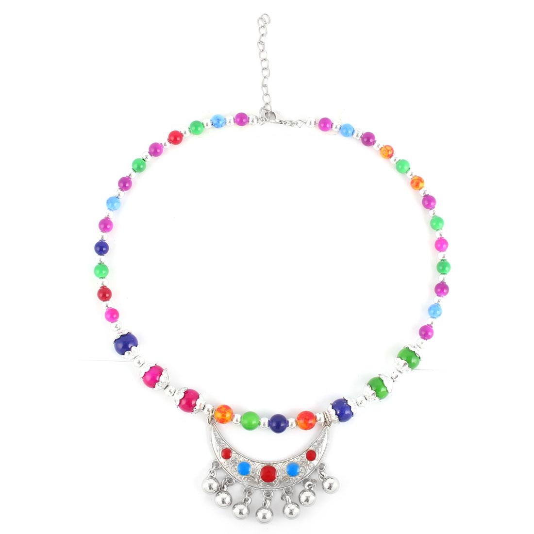 Festival Ladies Plastic Bead Moon Shaped Pendant Ethnic Style Necklet Necklace