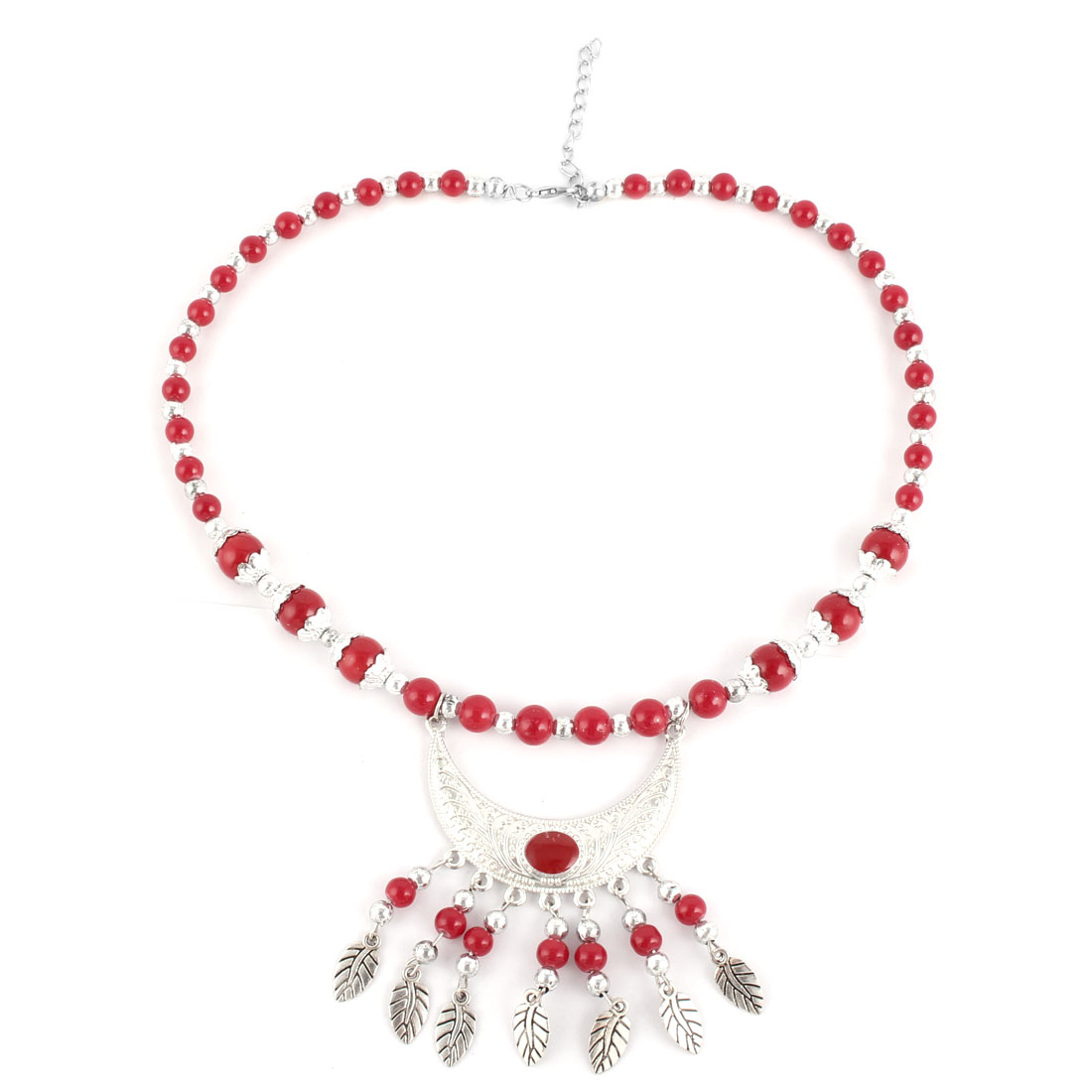 Party Women Plastic Bead Moon Shaped Pendant Ethnic Style Necklet Necklace