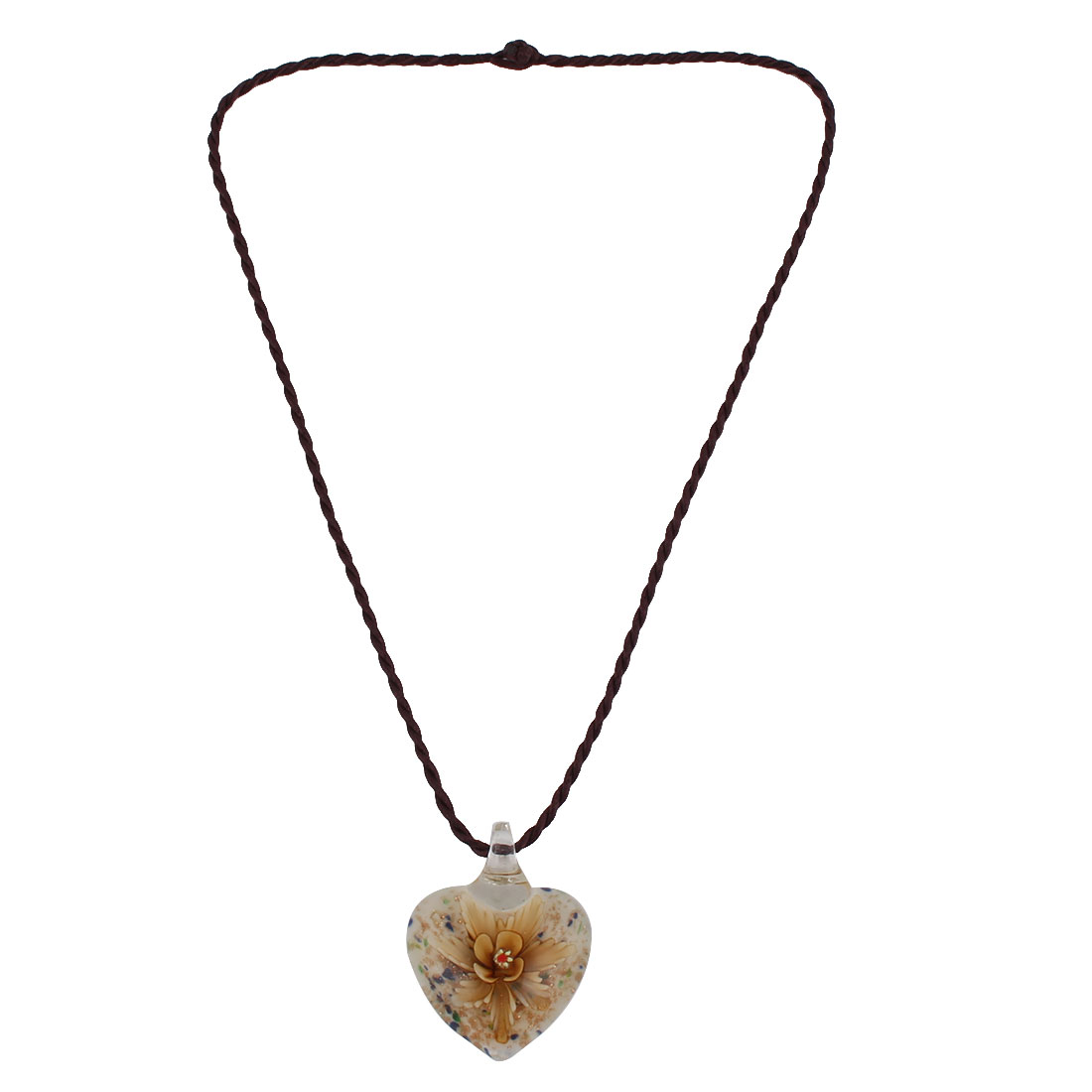 Party Glass Nylon Rope Floral Pattern Heart Shaped Pendant Necklet Necklace