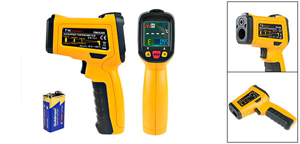 DMiotech DM6530B Non-contact Digital Laser Infrared Thermometer Gun Temp Handheld Orange Black
