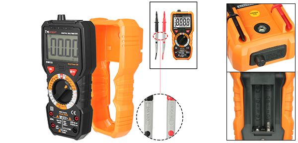 DMiotech DM18 LCD Digital Multimeter DC AC Voltage Current Ohm Resistance Test Meter Probe Leads Orange Grey
