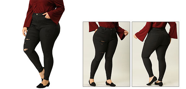 Women Plus Size Zip Fly Mid Rise Skinny Ripped Jeans Black 2X