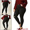 Women Plus Size Zip Fly High Waist Skinny Ripped Jeans Black 2X