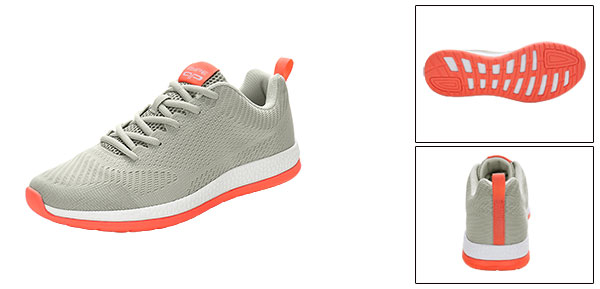 PYPE Lady Mesh Contrast Color Round Toe Training Sneakers Gray US 8.5