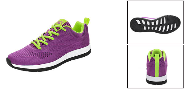 PYPE Women Mesh Contrast Color Round Toe Training Sneakers Purple US 8