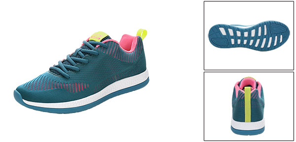 PYPE Lady Mesh Contrast Color Round Toe Training Sneakers Blue US 7.5