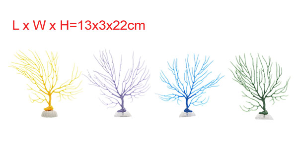 4pcs Colorful Coral Fish Tank Aquascape Decorative Plant Ornament w/ Stand