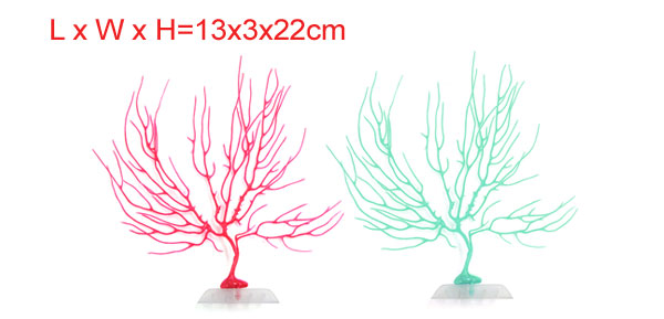 2pcs Colorful Coral Aquarium Decor Ornament With Plastic Base 13x3x22cm