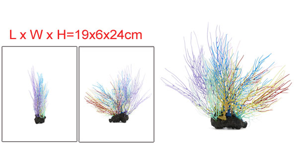 Aqua Fish Tank Colorful Coral Decor Ornament With Resin Base 19x6x24cm