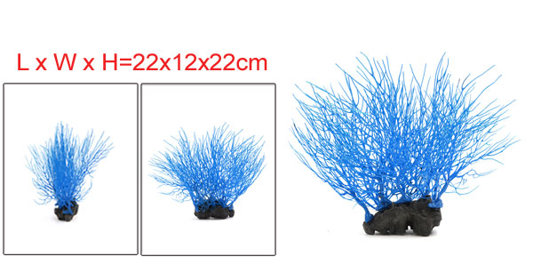 Fish Tank Blue Coral Decor Ornament With Resin Base 22x12x22cm