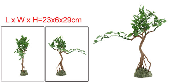 Aquarium Fish Tank Green Artificial Tree Design Ornament 23x6x29cm