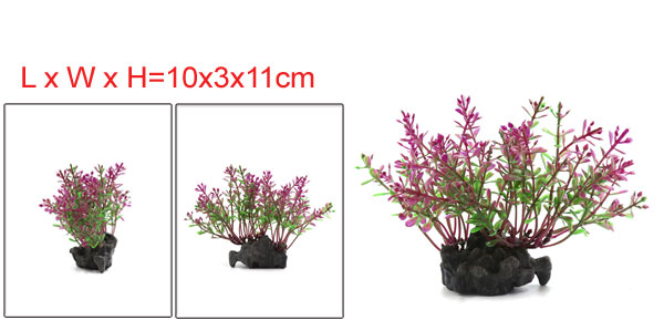 Aquarium Artificial Purple Leaves Plants Ornament For Fish Tank 10x3x11cm