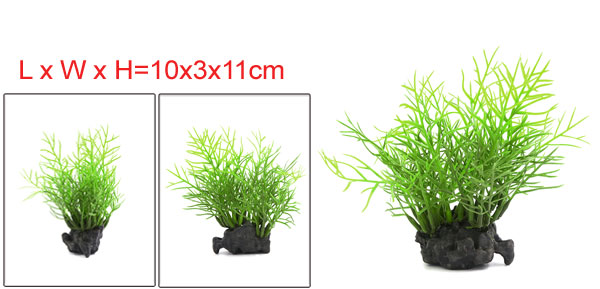 Aqua Small Fish Tank Artificial Green Plants Ornament 10x3x11cm