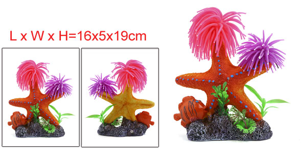 Aquarium Fish Tank Decoration Bubble Maker Starfish With Brothers Coral Ornament