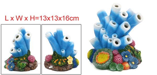 Aquarium Tank Decoration Bubble Maker Blue Starfish Ornament 13x13x16cm