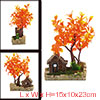 Fish Tank Decoration Orange Tree House With Chimney Bubble Maker ...